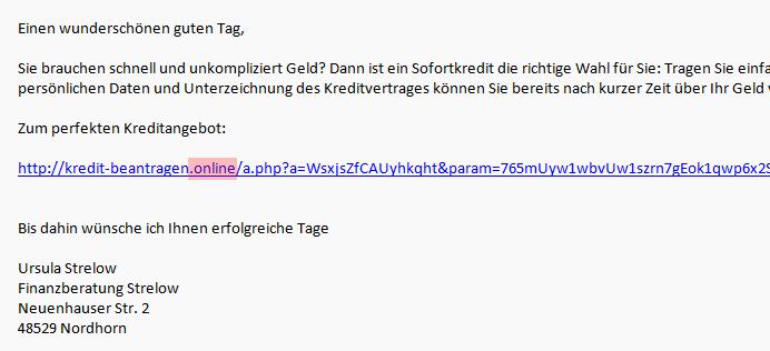 ngTLD .online in einer Phishing und Spam E-Mail